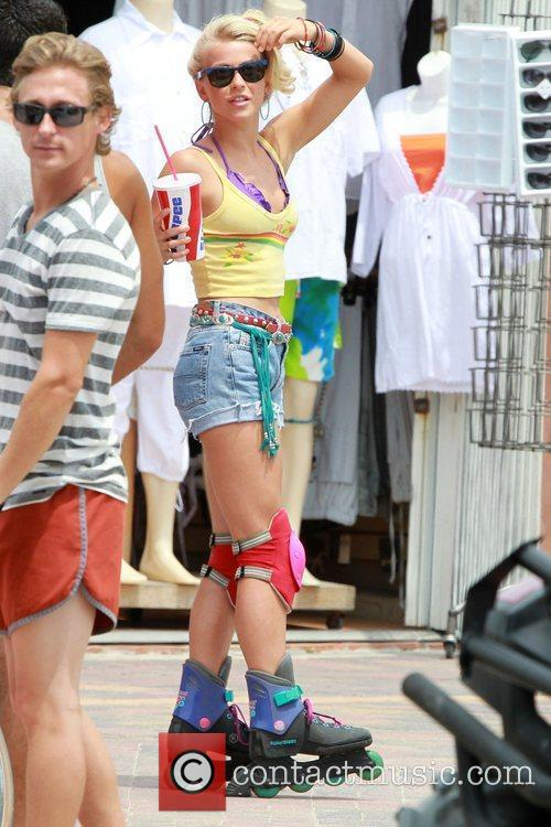 Julianne Hough rollerblading whilst shoot a scene for...