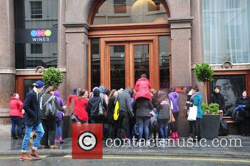 Atmosphere outside Justin Bieber's hotel in Liverpool during...