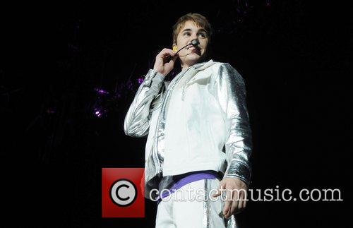 Justin Bieber performing live at the O2 Arena...