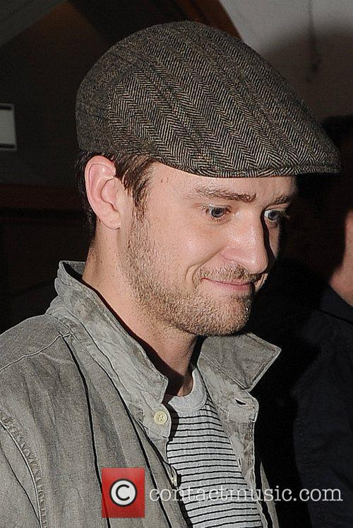 Justin Timberlake leaving Nobu restaurant in Mayfair with...