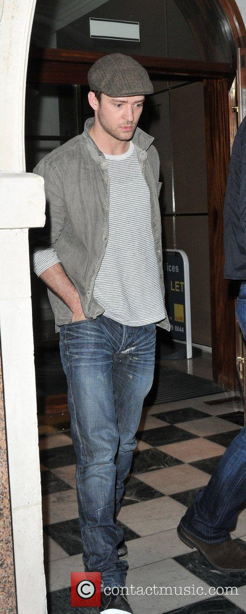 Justin Timberlake leaving Nobu in Mayfair with his...