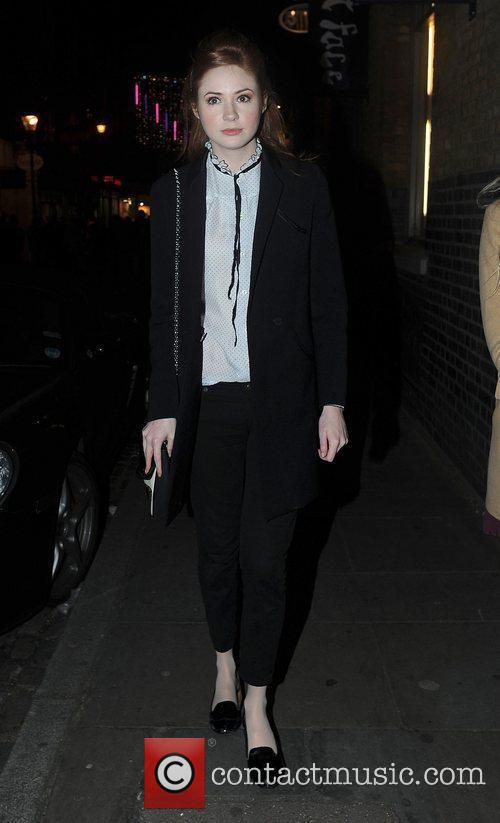 Karen Gillian and a friend are seen leaving...