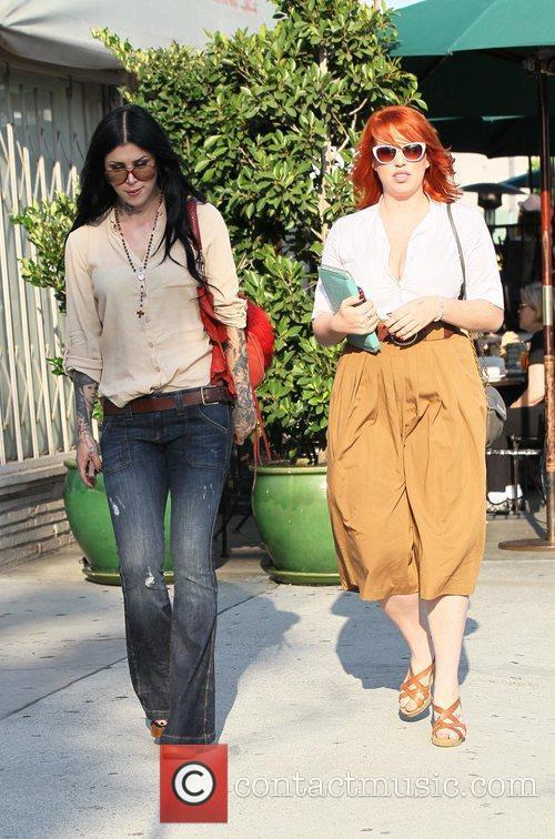 Kat Von D and a friend exit Urth