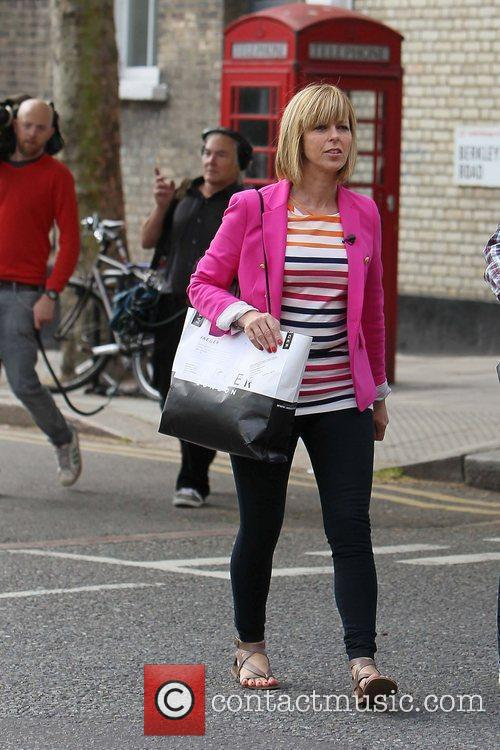 Kate Garraway filming in Primrose Hill London, England