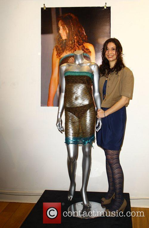 Charlotte Todd with her dress design as worn...
