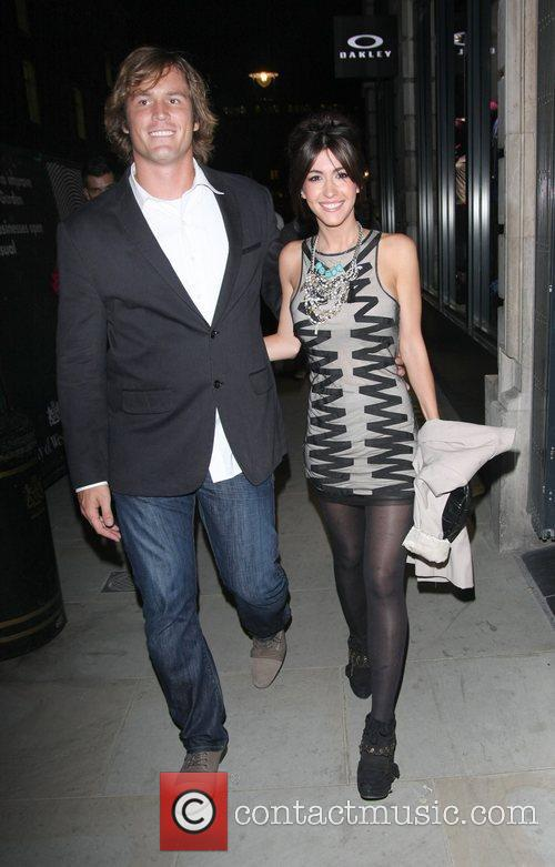 Kate Voegele and her boyfriend leave the Oakley...