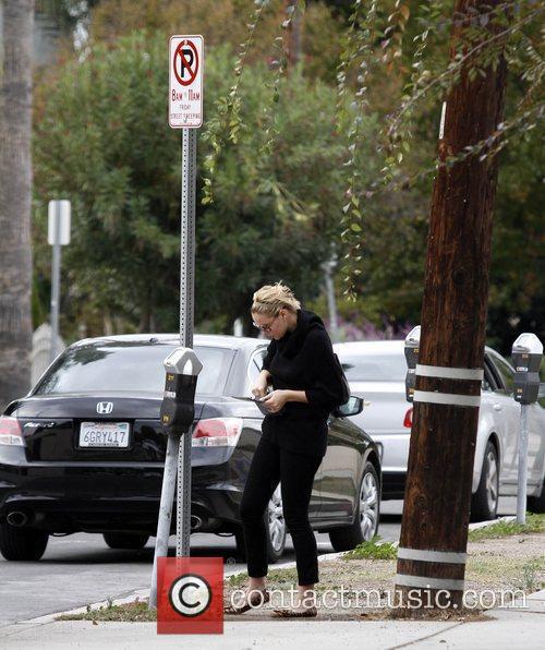 Katherine Heigl puts money in a parking meter...