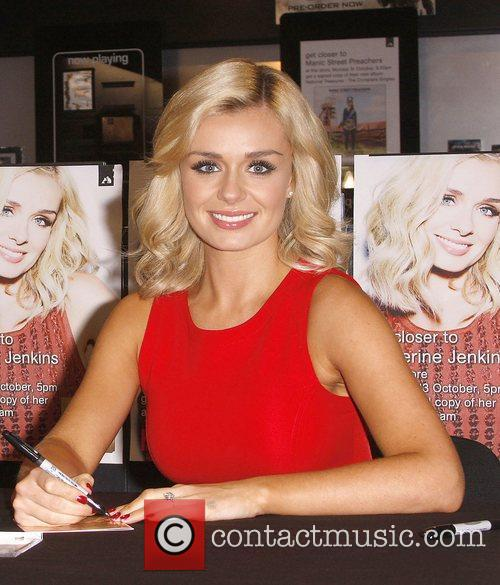 Katherine Jenkins signs autographs while promoting her new...