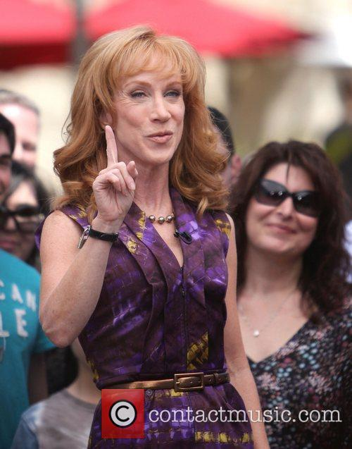 Kathy Griffin filming an interview for entertainment television...