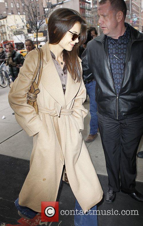 Katie Holmes arriving at a Manhattan hotel wearing...