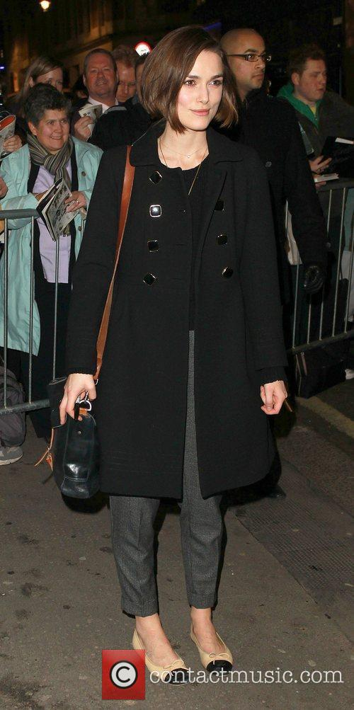 Keira Knightley leaving the Comedy Theatre, having performed...