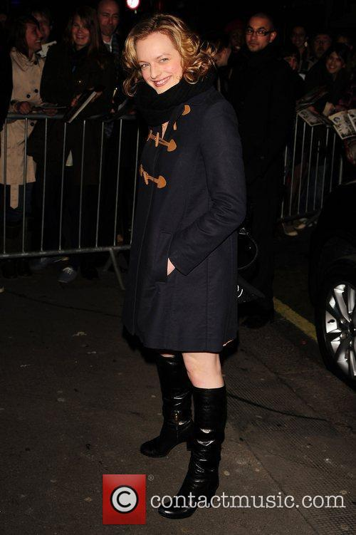 Elisabeth Moss leaving the Comedy Theatre after her...