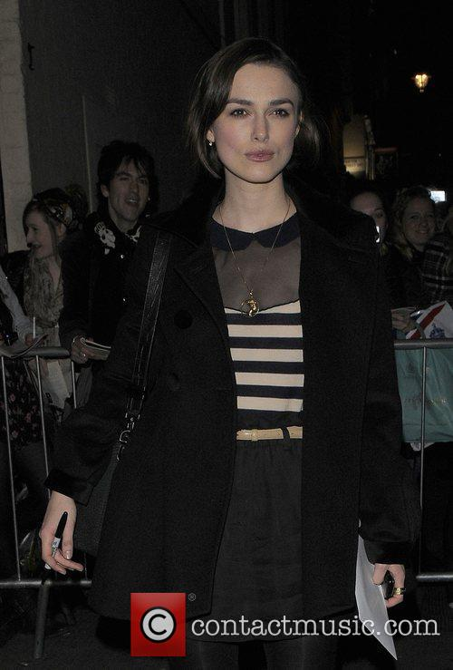 Keira Knightley leaving the Comedy Theatre after performing...