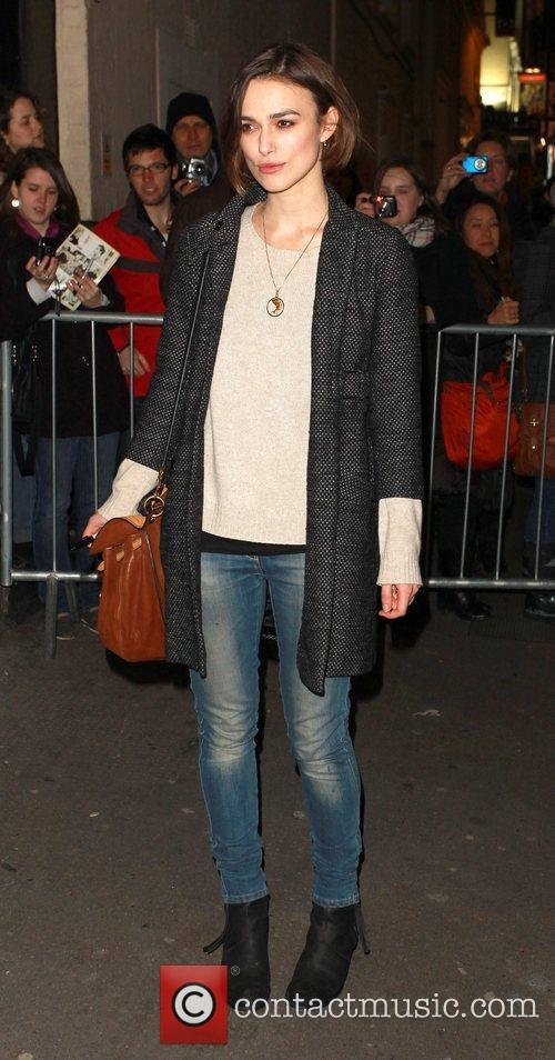 Keira Knightley leaves the Comedy Theatre after her...