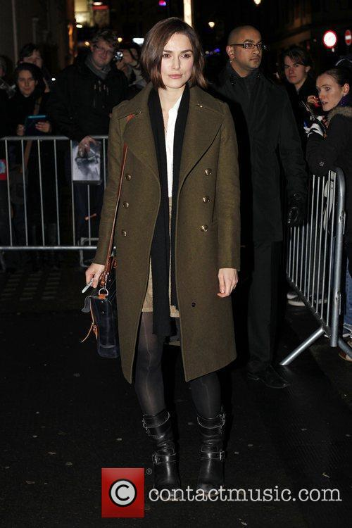 Keira Knightley  leaving the Comedy Theatre after...