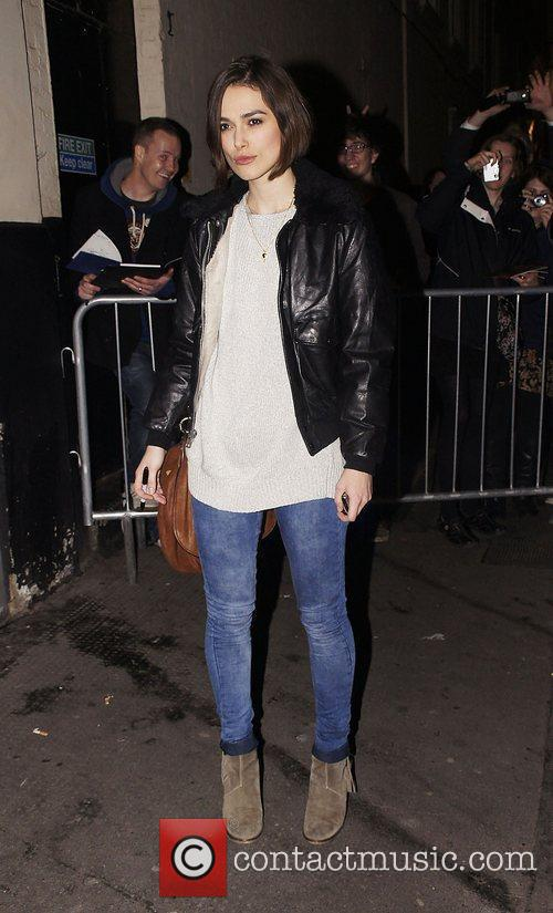 Keira Knightley leaving the Comedy Theatre having performed...