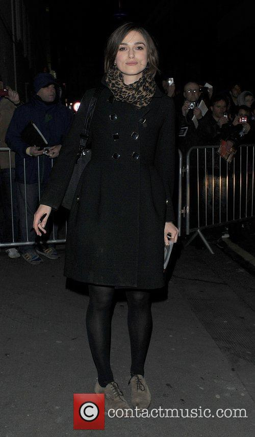 Keira Knightley leaving the Comedy Theatre wearing a...