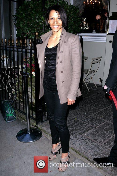 Kelly Holmes arrives at the book launch party...