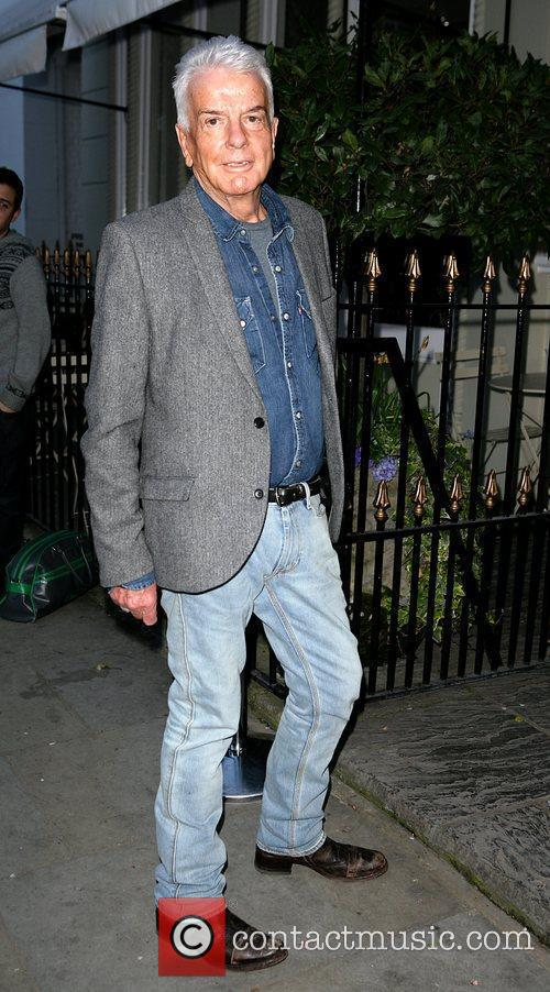 Nicky Haslam arrives at the book launch party...