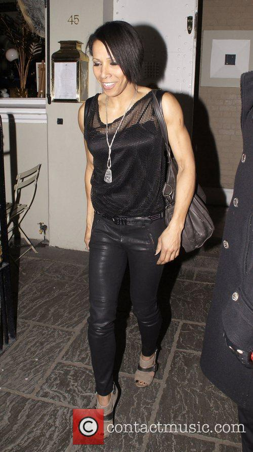 Dame Kelly Holmes celebrities leaving an after party...