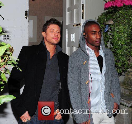 Duncan James and Simon Webbe celebrities leaving an...
