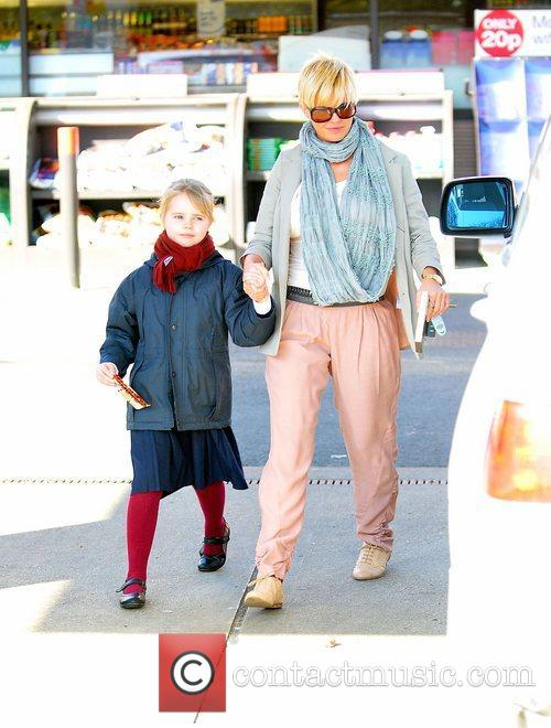 At a petrol station with her daughter Lilly-Sue