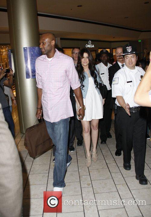 Khloe Kardashian and Lamar Odom filming scenes for...