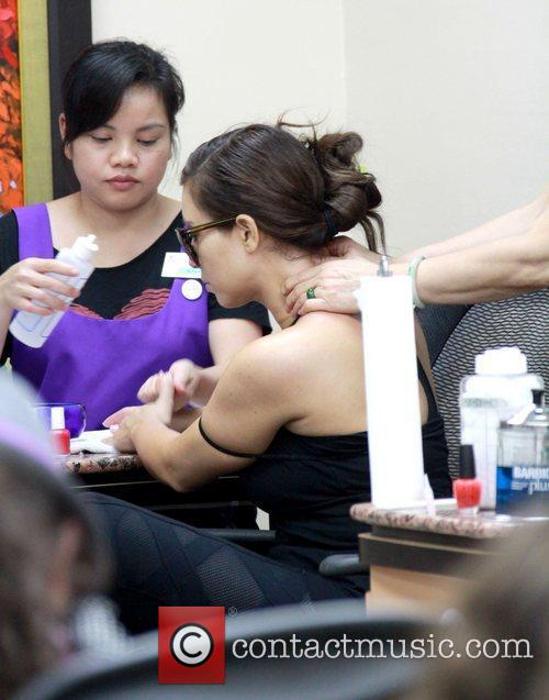 Kim Kardashian has a manicure at a Beverly...