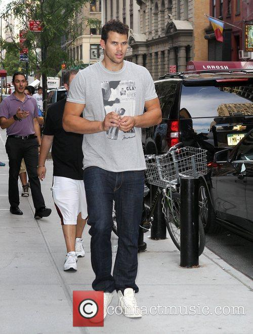 Kris Humphries outside his hotel New York City,...