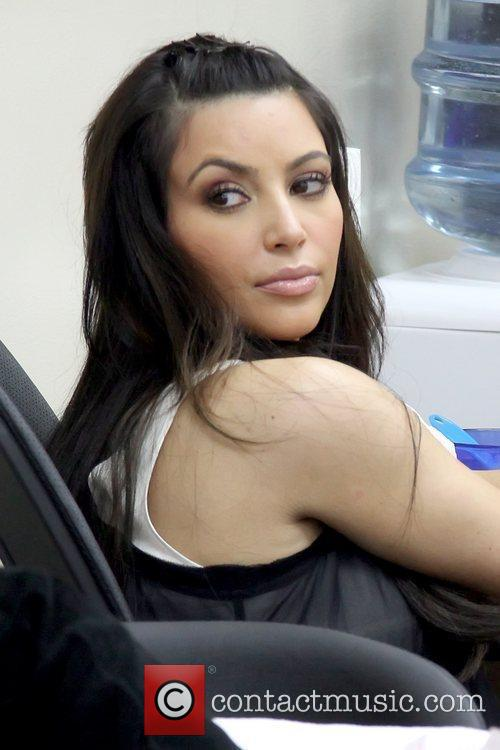 Kim Kardashian gets a manicure and pedicure at...