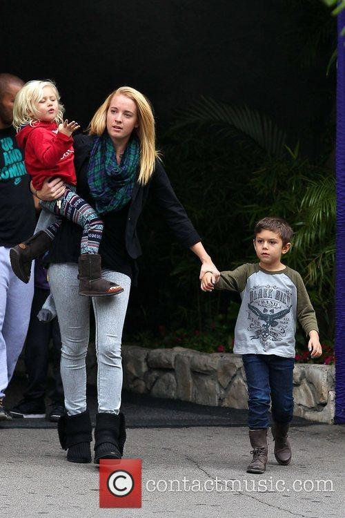 Kingston and Zuma Rossdale are seen out and...