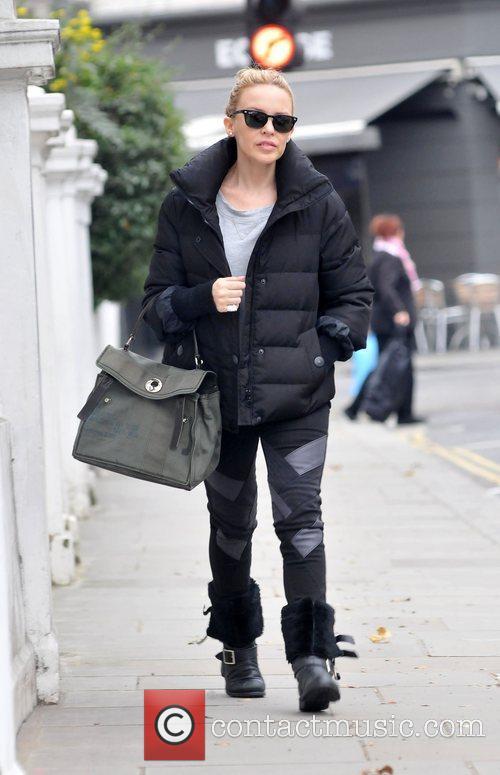 Kylie Minogue leaving home London, England