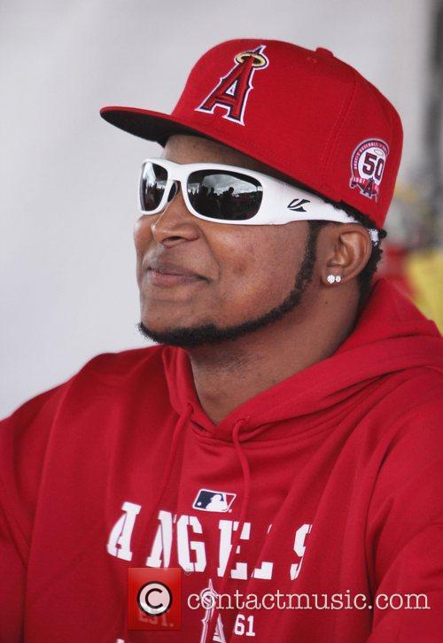 Ervin Santana attends the Los Angeles Angels of...