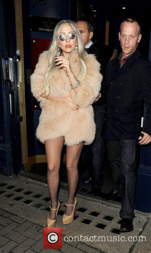 Lady Gaga leaving a screening theatre in Soho...