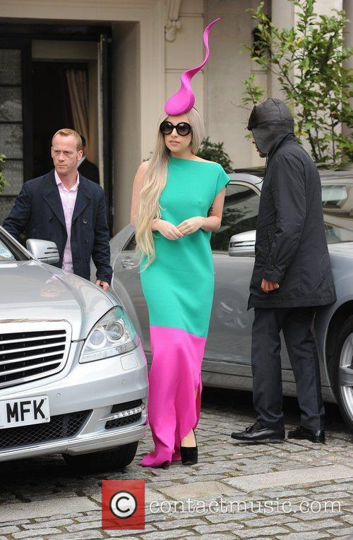 Lady Gaga leaving her hotel to film a...