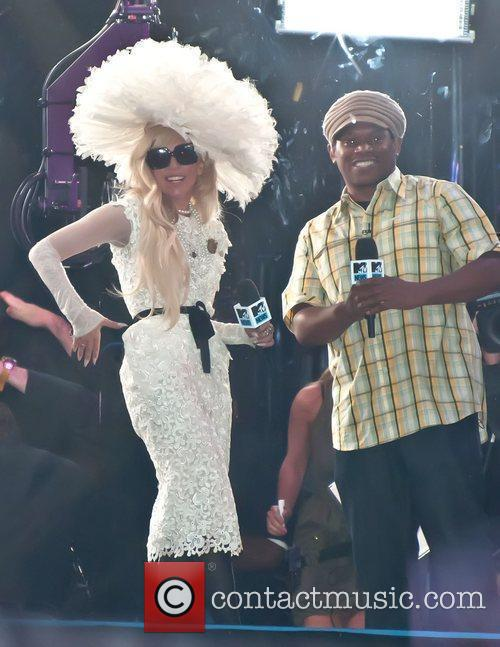 Lady Gaga filming for MTV's TRL at the...