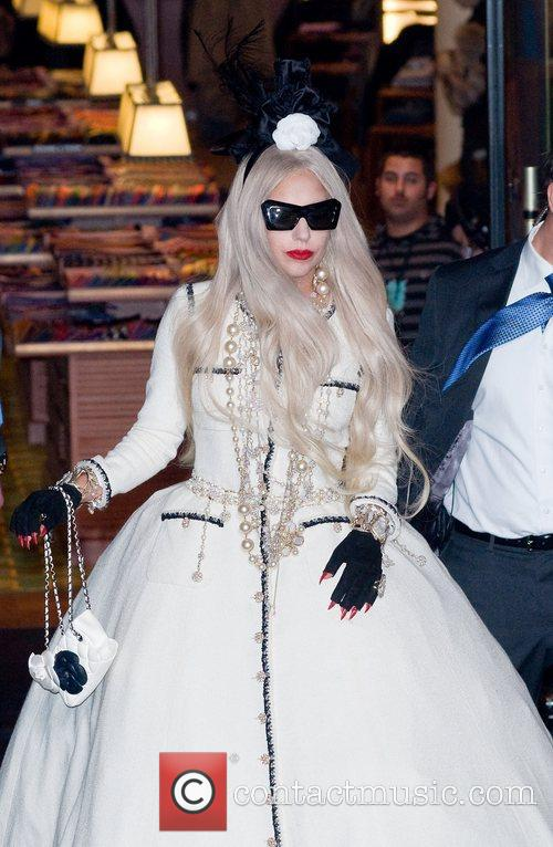 Lady Gaga at the ribbon cutting ceremony to...