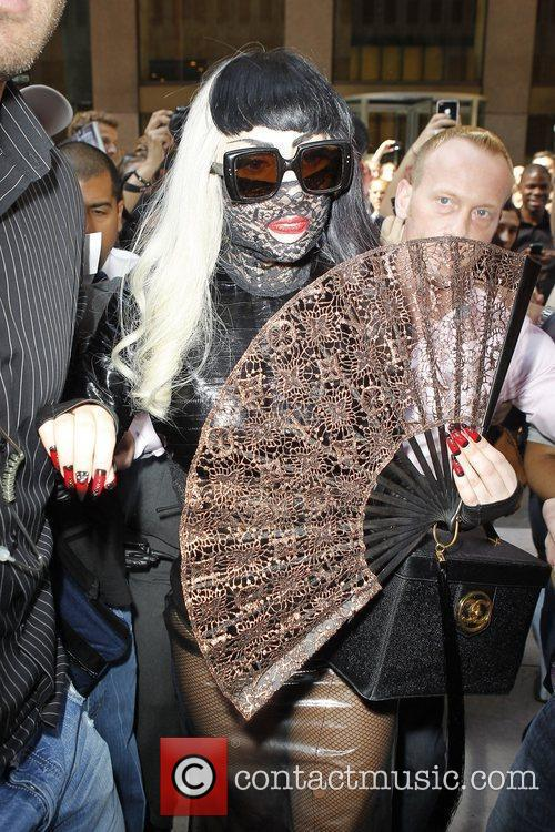 Lady Gaga leaving the Sirius Radio building in...