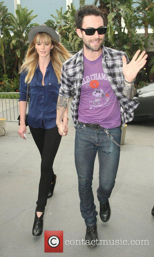 Adam Levine,  arriving at the Staples Center...