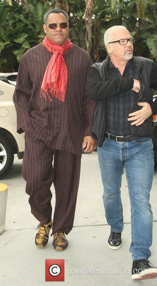 Laurence Fishburne,  arriving at the Staples Center...