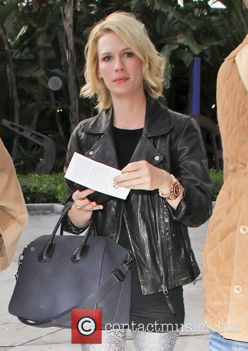 January Jones Celebrities attend an LA Lakers game...