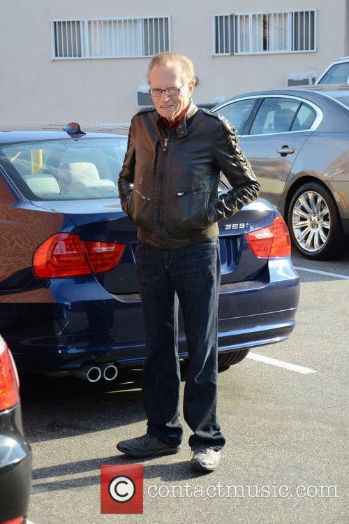 Larry King is seen outside his favorite bagel...