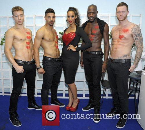 Leona Lewis backstage with dancers at G-A-Y London,...
