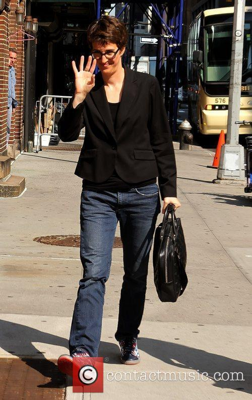 Rachel Maddow  outside The Ed Sullivan Theater...