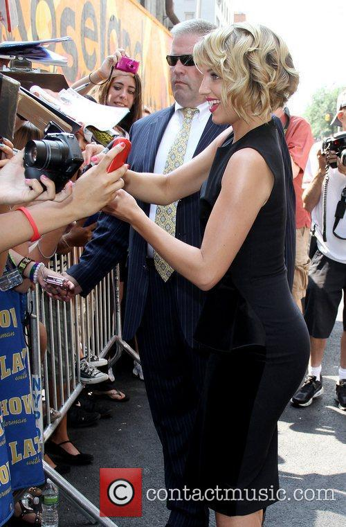Dianna Agron signing autographs 'The Late Show with...