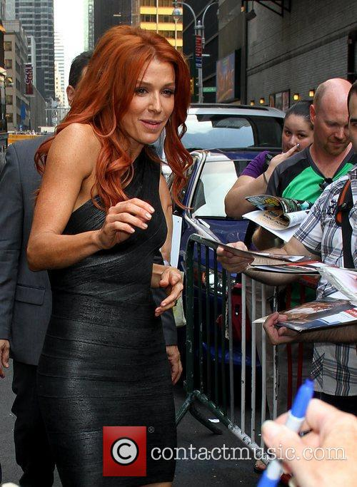Poppy Montgomery signing autographs 'The Late Show with...