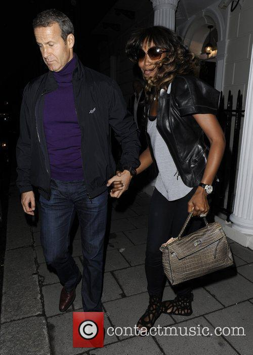 Naomi Campbell leaves a private address where she...