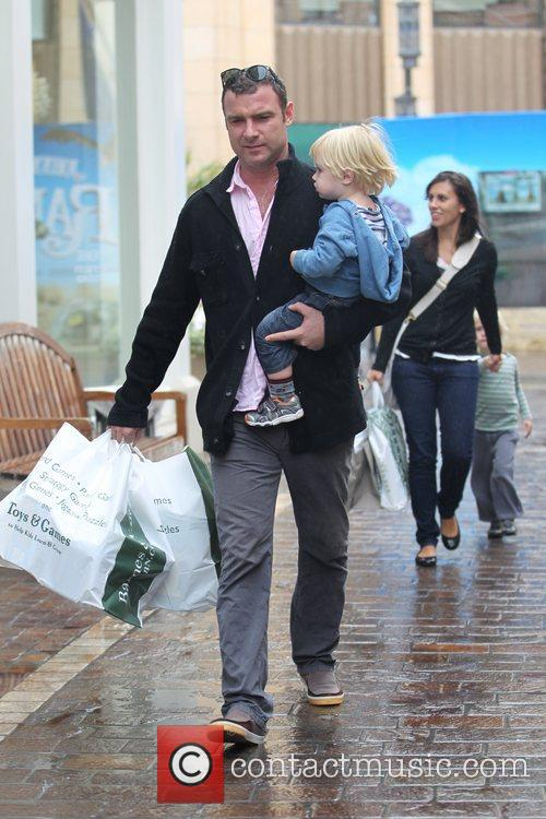 Liev Schreiber  and family out shopping at...