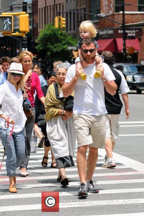 Liev Shreiber walking with his family in Tribeca