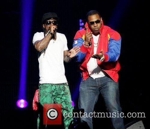 Lil Wayne and Busta Rhymes performs at the...